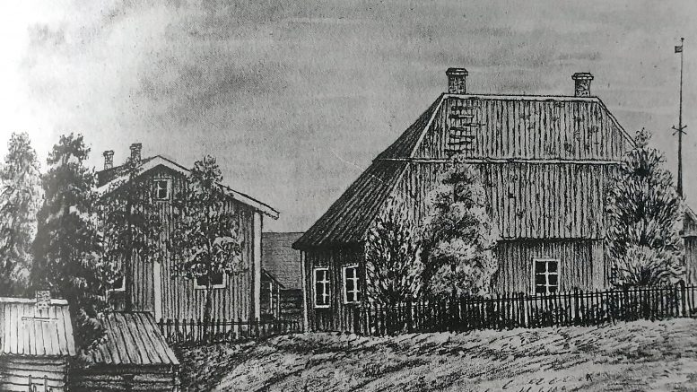 Iin 1700-luvulla rakennettu pappila. Iin kansakoulun ensimmäisen tyttöjen opettajan Olga Nymanin piirros v. 1877 (Iin srk. historia)