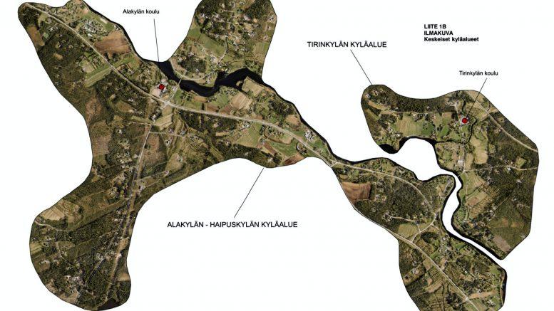 Osayleiskaavan Alakylän, Haipuskylän ja Tirinkylän kyläalueet näkyvät Oulun kaupungin ilmakuvakartassa.