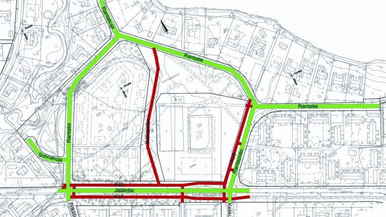 Rantatien alueen kadut, vesijohdot ja jätevesiviemärit peruskorjataan. Samalla rakennetaan uusia katuja ja pyöräteitä vanhalle urheilualueelle.