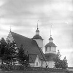 Iin Pyhän Laurentiuksen kirkko, joka paloi salaman sytyttämänä 23. elokuuta 1942. Kuva on otettu vuonna 1896. Kuva: Armas Lindgren, Museovirasto.