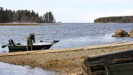 Kiiminkijoki virtaa jäistä vapaana Haukiputaan suistossa. Veneilykausi on alkamassa. Kuva Siikasaaren rannasta jokisuulle ja merelle. Oikealla takana Miehikkä.