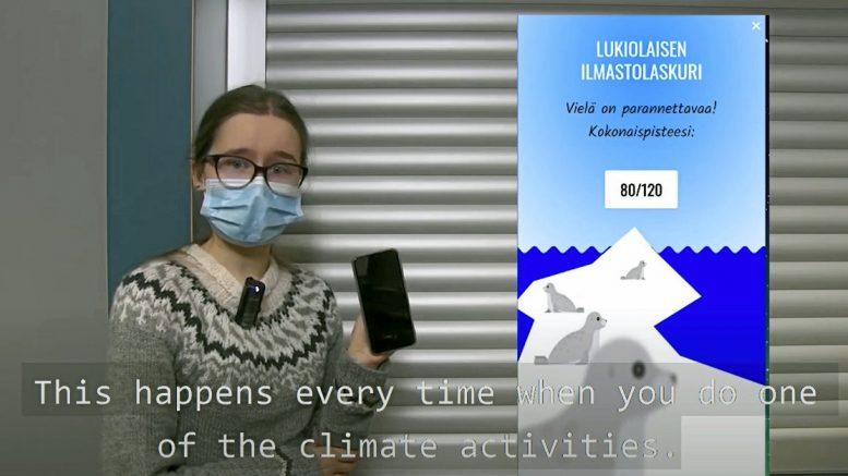 Haukiputaan lukion kakkosluokan ryhmän luoma Lukiolaisen ilmastolaskuri kisaa kansainvälisessä mittelössä. Kuva projektin esittelyvideosta.