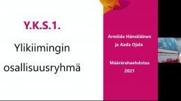 Ylikiimingin osallisuusryhmän Armiida Hämäläinen ja Aada Ojala olivat tuomassa lasten ja nuorten kaupunkikokoukselle ylikiiminkiläisten määrärahaehdotusta koulun sisätilojen oleskelu- ja opiskelupaikkojen parantamisesta. (Kuvankaappaus kokouslähetyksestä)