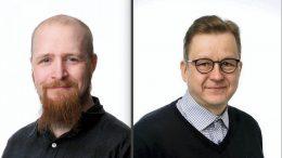 Kunnanvaltuuston varajäsenenä nykyisellä valtuustokaudella toimiva Petri Hyvönen (vasemmalla) on 36-vuotias metsäkoneenkuljettaja Kuivaniemeltä. Kunnanvaltuuston ensikertalainen keskustan Hannu Kaisto on 51-vuotias aluepäällikkö Jakkukylästä.
