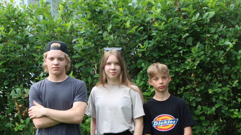 Veikka, Katariina ja Kaapo Huovinen suosittelevat 4H-yrittäjyyttä muillekin nuorille. Kuvasta puuttuu Okko Huovinen.