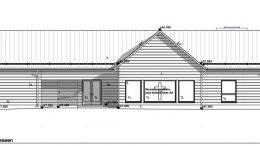 Yli-Iin uusi seurakuntatalo näyttää suunnitelmissa tien suuntaan tältä. Ikkunaan on suunniteltu kirkas risti. Talon pää- ja arkkitehtisuunnittelusta vastaa LUO Arkkitehdit Oy.