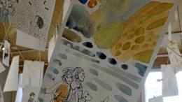 Oululaisen kuvittaja Meeri Hentilän töitä on esillä Iin Nätteporissa.