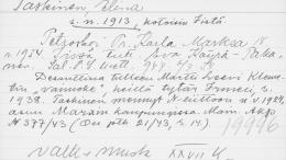 Etsivän Keskuspoliisin henkilökortti kertoo, että iiläinen Elina Taskinen lähti Neuvostoliittoon vuonna 1924. (Kuva: Kansallisarkisto)